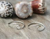 Hawaii Wave Ring - 16 Gauge Sterling Silver Hammered - Nalu, Surfer girl, Hawaii Style Jewelry, Beach Jewelry, Summer Jewelry