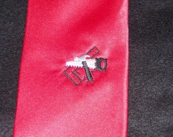 70% off SALE - TIE New Necktie Tools of the Trade Contractor's Tie Embroidered with Tools on Adult Sized RED tie