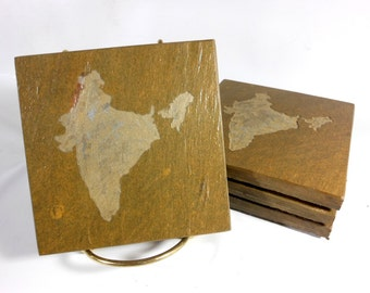Stone Coasters - Country: India (Contact Me for Other Countries) Handmade Carved Slate Coaster Set of 4 - Personalized Custom Drink Coasters