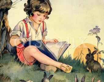 Personalized Bookplates - Boy Reading - Vintage Ex Libris, Baby Shower Present, Boy's Book Labels