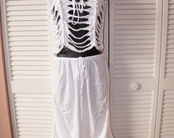 white deconstructed shredded crochet t skirt