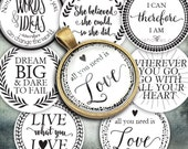 """Instant Download of Favorite Quotes 1"""" Circle Bottle Cap and Pendant Digital Download Sheet."""