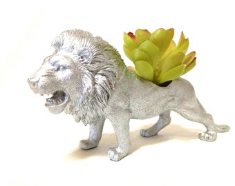 Silver Lion Planter for Succulents and Airplants Desk Decor