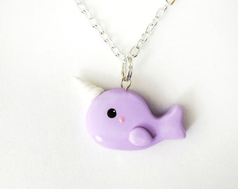 Pastel Purple Narwhal Necklace Polymer Clay Charm