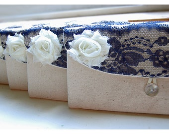Personalize navy blue lace Bridesmaid gift burlap clutch purse bridesmaid clutch wedding clutch bridal clutch cosmetic MakeUp Set 3 4 5 6