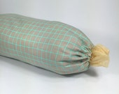 Plastic Bag Holder - Grocery Bag Dispenser - Fabric Gray and Turquoise