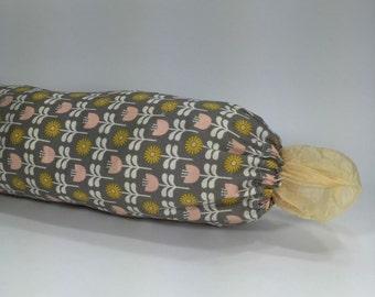 Grocery Bag Holder - Medium Plastic Bag Dispenser - Gray, Pink, Mustard Yellow and White Fabric