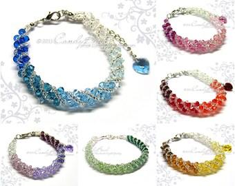 Rainbow bracelet; crystal bracelet; Swarovski bracelet; Glass bracelet;Rainbow shade twisty Swarovski Crystal Bracelet by CandyBead