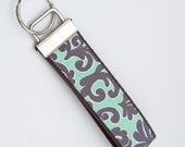 Wristlet Key Fob Key Chain - Flourish in Gray & Mint - Fabric Keychain with your choice of webbing color
