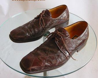 Vintage Men's HANDMADE Ostrich Shoes / size 9 .5 m Eu 42.5 UK 9 / David Eden PATCHWORK Brown Oxfords Spain