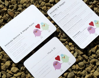 Love Bird Modern Wedding Invitation - Custom - Modern Wedding Invitation - Deposit