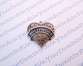 Custom Personalized Hollywood Charm or Any American City State or Favorite Vacation Spot Crystal Antique Silver Heart Pendant
