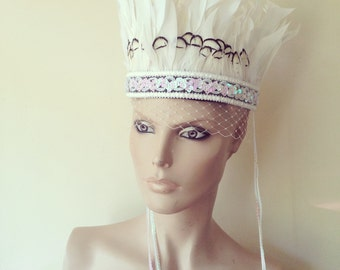 Bridal White Feather Crown Head Dress with white sequin Embellishment Trimming