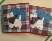 Scottish Felt and Tartan Fabric Westie Dog Greetings Card, Birthday Card, Scottie Dog