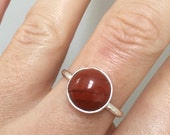 I AM GROUNDED & SAFE // Root Chakra ring // sterling silver and red jasper