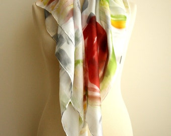 Silk scarf Hand painted - Silk Scarf - Woman scarf - Giveaways - 36x36in - (90x90cm).Ooak silk scarf