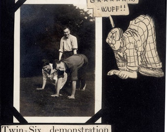 vintage photo 1915 Twin Six Demonstration Human Car Power Cartoon Vermont