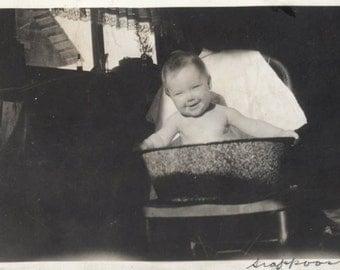 vintage photo Little Baby Ethle Lyle Kerr in Metal Bath Tub Scappoose ORegon