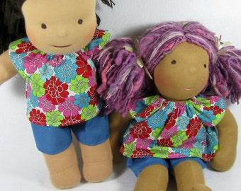 14 in doll clothes, 15 16 in Waldorf clothes, pink red blue green doll top and shorts, bright cotton doll clothing, bright floral doll shirt