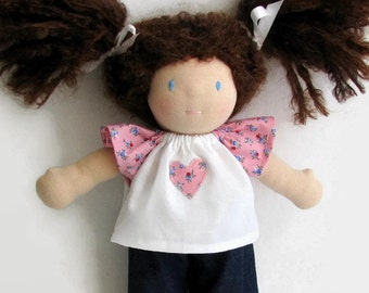 Handmade Waldorf Doll Clothes, 10 inch doll top and jeans, old fashioned pink floral print top and choice of jeans