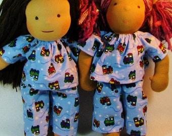 14, 15, 16 inch waldorf doll pajamas in blue trains flannel