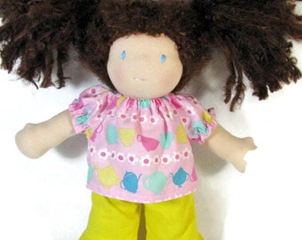 10 inch waldorf doll pink teapot top and yellow ruffle pants, doll clothes