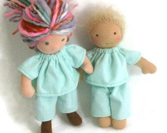 Doll sleepwear, mint green flannel pajamas for thin 8 inch waldorf doll, waldorf pajamas
