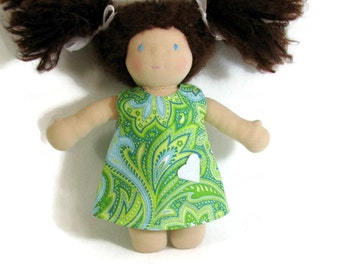 For Waldorf 10 to 12 inch doll, a blue green paisley doll dress, doll dress