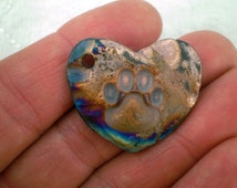 Paw Print Bead, Raku Bead, Heart Focal Bead, Cat Paw Bead, Dog Paw Bead
