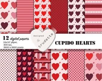 Valentine Digital Paper Pack - Cupido Hearts - instant download - Valentine - Hearts - Dots -Stripes - card making, trudette, paper hearts