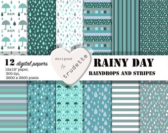 Rainy Day, Digital Paper , School supply, Card making papers, Scrapbooking, Background, instant download, commercial use, rain, raindrops,