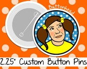 10 Custom Photo Buttons Pins - 2.25 Inch (Large)