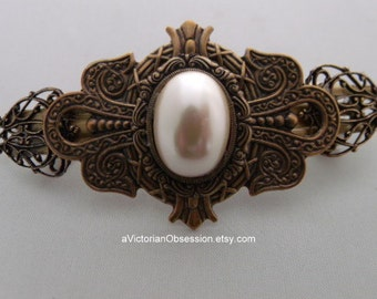 Hair barrette Vintage Victorian Antique gold and Faux Pearl barrette hair clip