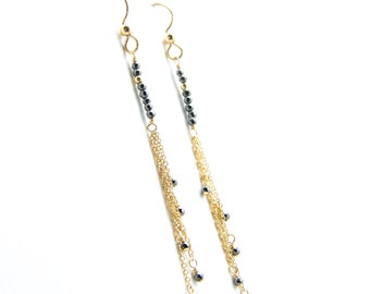 Piper - Hematite and Gold Filled Earrings