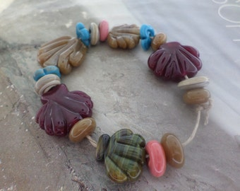 Assorted Beach Seashells Handmade Lampwork Glass Beads