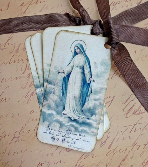 Religious Tags - Virgin Mary Tags - Vintage Prayer Cards - Set of 4