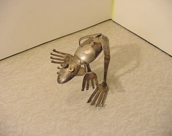 Silverware Sculpture Frog #4 recycled up-cycled flatware - odd animal decor Outsider Art folk primitive Raw brut Dada rustic industrial