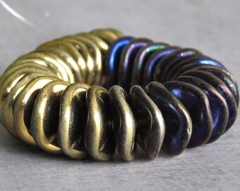 California Blue 12mm Ripple Czech Glass Bead : 10 pc Gold Blue Wavy Disc Bead