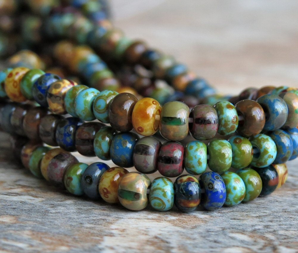 6 0 glass bead caribbean blue aged striped picasso seed