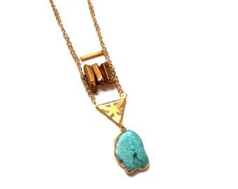 LAST ONE Bohemian Copper crystal turquoise semi precious gemstone boho tribal Gold Gem Pendant Necklace