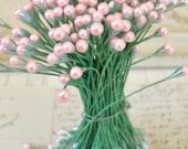 Vintage Millinery / Double-Ended Floral Stamens / Flower Centers / One Unaltered Bunch / Pearlized Pink Tipped Green