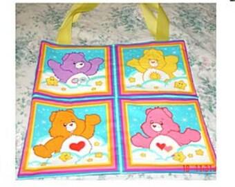 Large Care Bear Bag - 4 Panel Tote - Funshine, Love A Lot, Share, Wish Bear, Tenderheart *