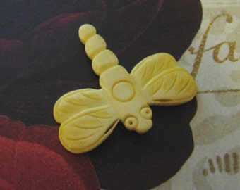 Bone Dragonfly Focal Bead, Hand Carved, 42mm Yellow