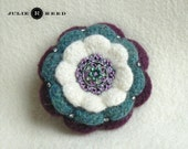 Handmade Crocheted, Felted and Embellished Wool Brooch Pin in White, Turquoise & Plum