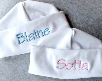 Hats for Twins!  Personalized with Embroidery