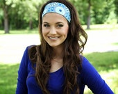 Wide Fabric Headbands, Blue Moroccan Motif Print