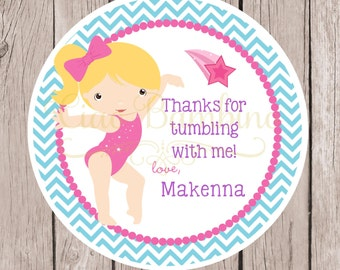 PRINTABLE Gymnastics Birthday Party Favor Tags / Choose Hair & Skin Color / Pink, Purple and Blue / Chevron / You Print