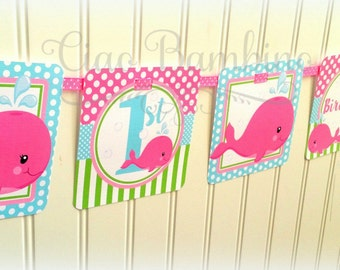 Pink Whale Happy Birthday Banner / Personalized with Name and Age / Hot Pink, Lime Green and Blue - 0028