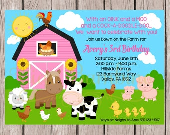 PRINTABLE Girls Farm Birthday Party Invitation / Down on the Farm Party with Pink Barn / You Print