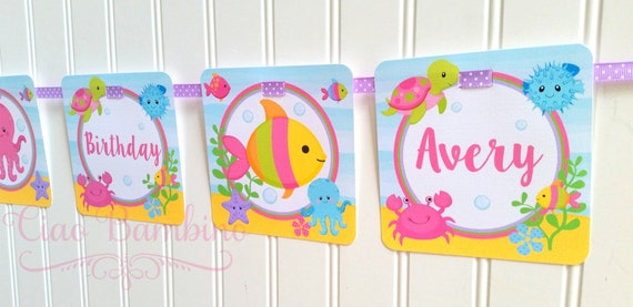 Under the Sea Happy Birthday Banner for Girls / Turtle, Fish, Crab, Dolphin, Jelly Fish / Personalized with Name and Age - 0022